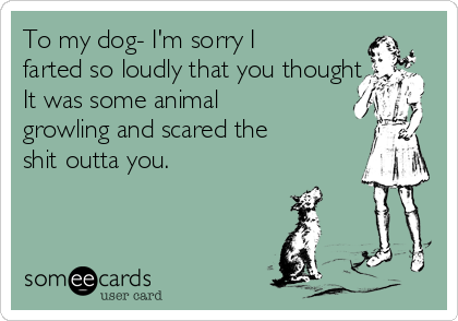 To my dog- I'm sorry I farted so loudly that you thought It was some animal growling and scared the shit outta you.