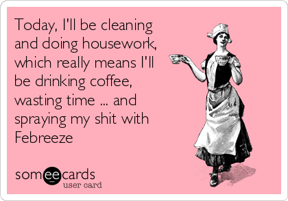 Today, I'll be cleaning and doing housework, which really means I'll be drinking coffee, wasting time ... and spraying my shit with  Febreeze