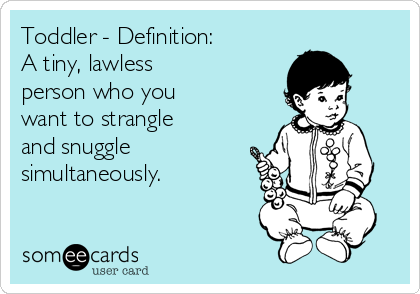 Toddler - Definition:  A tiny, lawless  person who you  want to strangle  and snuggle simultaneously.