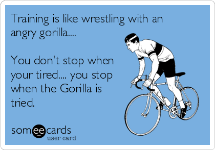 Training is like wrestling with an angry gorilla....  You don't stop when your tired.... you stop when the Gorilla is tried.