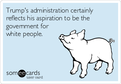 Trump's administration certainly reflects his aspiration to be the government for white people.