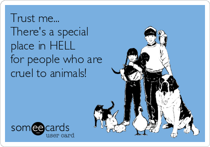 Trust me... There's a special  place in HELL for people who are cruel to animals!