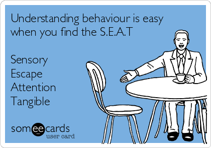 Understanding behaviour is easy when you find the S.E.A.T  Sensory Escape Attention Tangible