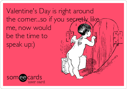 Valentine's Day is right around the corner...so if you secretly like me, now would be the time to speak up:)