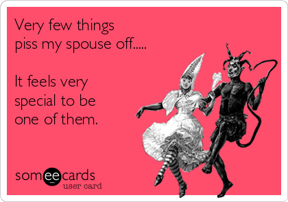 Very few things piss my spouse off.....  It feels very special to be  one of them.