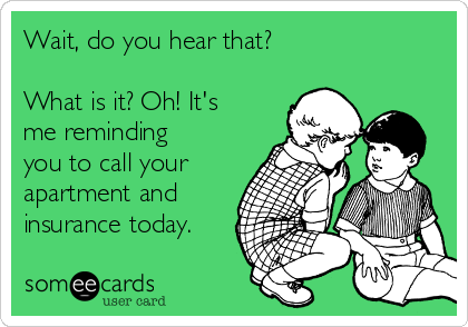 Wait, do you hear that?  What is it? Oh! It's me reminding you to call your apartment and insurance today.