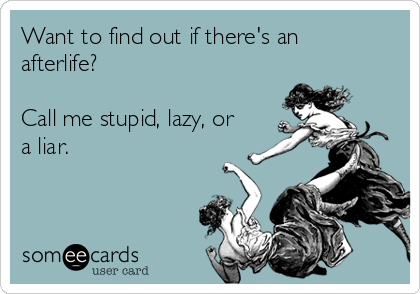 Want to find out if there's an afterlife?  Call me stupid, lazy, or a liar.