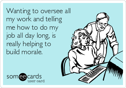 Wanting to oversee all my work and telling me how to do my job all day long, is really helping to build morale.