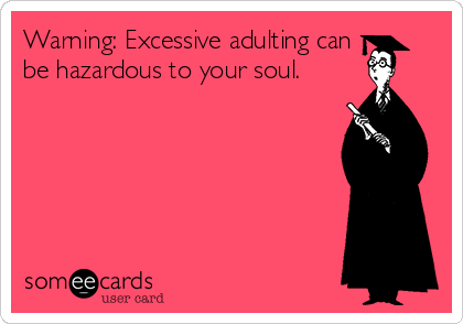 Warning: Excessive adulting can be hazardous to your soul.