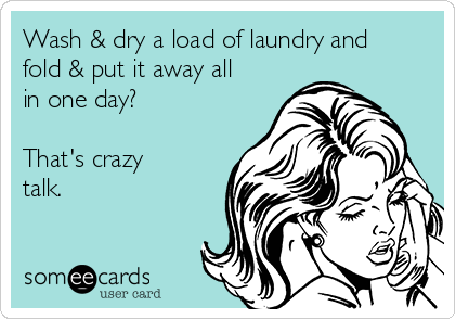 Wash & dry a load of laundry and fold & put it away all in one day?  That's crazy talk.