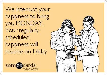 We interrupt your happiness to bring you MONDAY. Your regularly scheduled happiness will resume on Friday