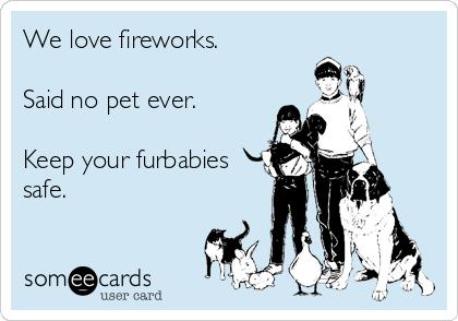 We love fireworks.   Said no pet ever.   Keep your furbabies safe.