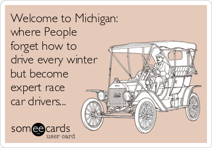 Welcome to Michigan: where People forget how to drive every winter but become  expert race car drivers...