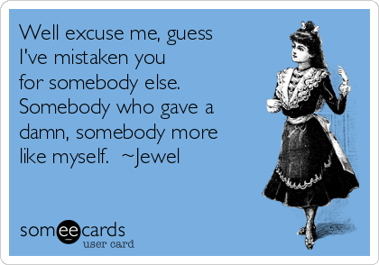 Well excuse me, guess I've mistaken you for somebody else. Somebody who gave a damn, somebody more like myself.  ~Jewel