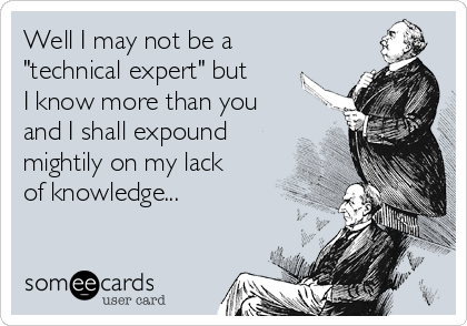 "Well I may not be a ""technical expert"" but I know more than you and I shall expound mightily on my lack of knowledge..."