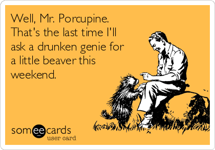 Well, Mr. Porcupine. That's the last time I'll ask a drunken genie for a little beaver this weekend.