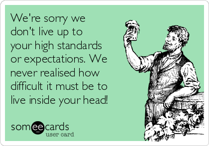 We're sorry we don't live up to  your high standards or expectations. We never realised how difficult it must be to live inside your head!