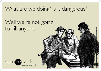 What are we doing? Is it dangerous?  Well we're not going to kill anyone.