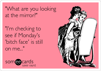 """""""What are you looking at the mirror?""""  """"I'm checking to see if Monday's 'bitch face' is still on me..."""""""
