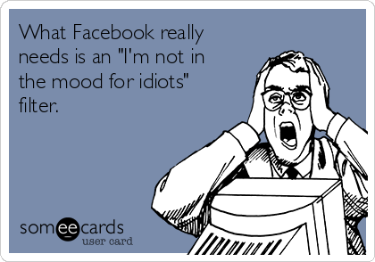 "What Facebook really needs is an ""I'm not in the mood for idiots"" filter."