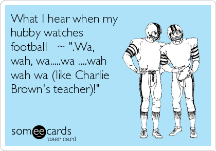 "What I hear when my hubby watches football   ~ "".Wa, wah, wa.....wa ....wah wah wa (like Charlie Brown's teacher)!"""