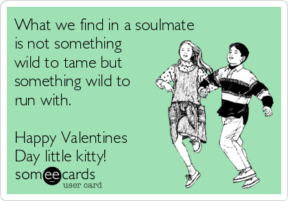 What we find in a soulmate is not something wild to tame but something wild to run with.  Happy Valentines Day little kitty!
