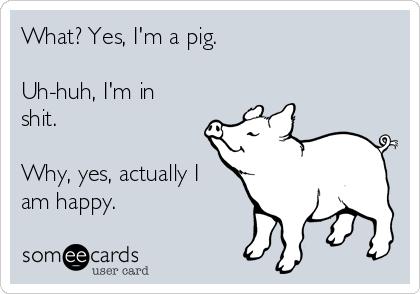 What? Yes, I'm a pig.  Uh-huh, I'm in shit.  Why, yes, actually I am happy.