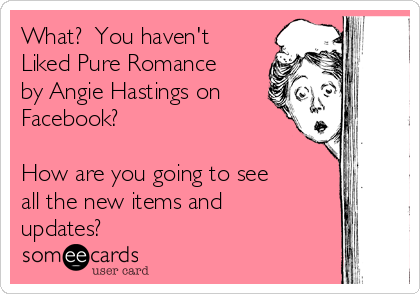 What?  You haven't Liked Pure Romance by Angie Hastings on Facebook?    How are you going to see all the new items and updates?