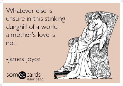 Whatever else is unsure in this stinking dunghill of a world a mother's love is not.   -James Joyce