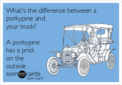 What's the difference between a porkypine and your truck?  A porkypine has a prick on the outside