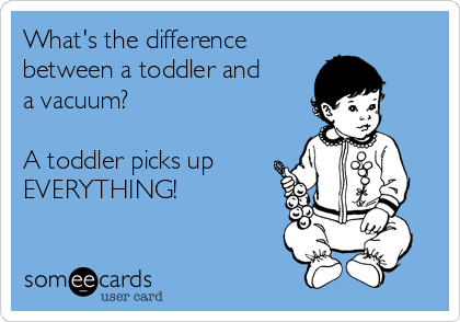 What's the difference between a toddler and a vacuum?  A toddler picks up EVERYTHING!