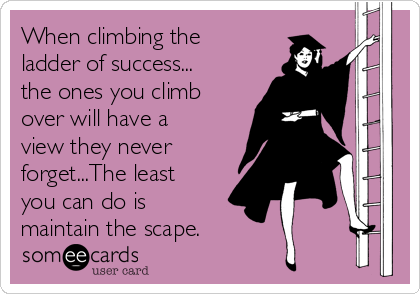 When climbing the ladder of success... the ones you climb over will have a view they never forget...The least you can do is maintain the scape.