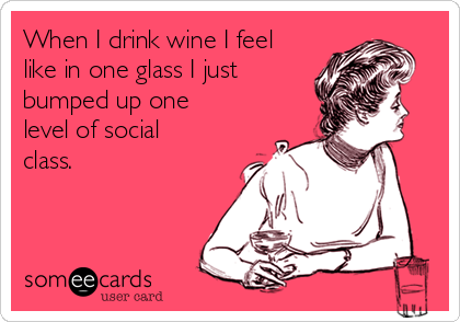 When I drink wine I feel like in one glass I just bumped up one level of social class.