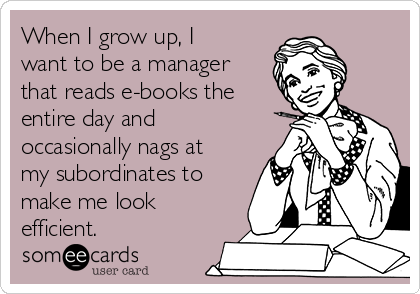 When I grow up, I want to be a manager that reads e-books the entire day and occasionally nags at my subordinates to make me look efficient.