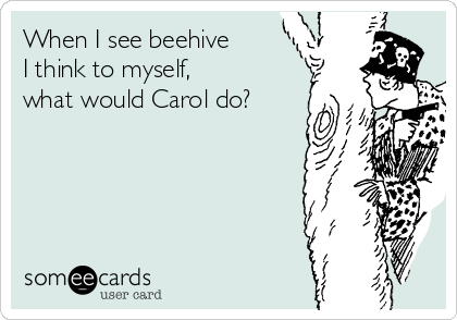 When I see beehive    I think to myself,       what would Carol do?