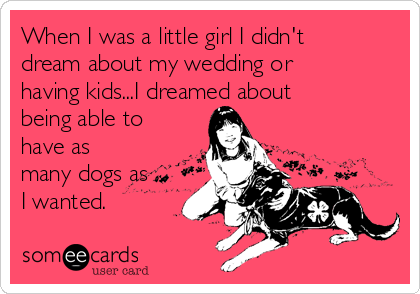 When I was a little girl I didn't dream about my wedding or having kids...I dreamed about being able to have as many dogs as I wanted.