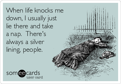 When life knocks me down, I usually just lie there and take a nap.  There's always a silver lining, people.