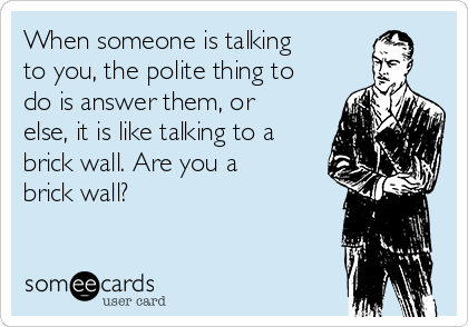 When someone is talking to you, the polite thing to do is answer them, or else, it is like talking to a brick wall. Are you a brick wall?