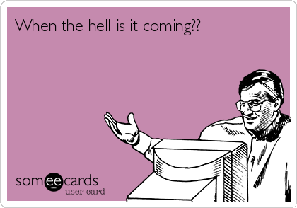 When the hell is it coming??