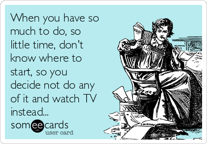 When you have so much to do, so little time, don't know where to start, so you decide not do any of it and watch TV instead...