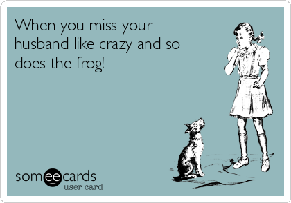 When you miss your husband like crazy and so does the frog!