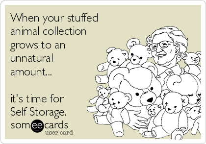 When your stuffed animal collection grows to an unnatural amount...  it's time for Self Storage.