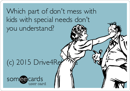 Which part of don't mess with kids with special needs don't you understand?    (c) 2015 Drive4Rebecca