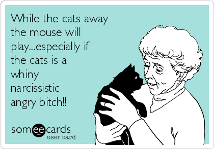 While the cats away the mouse will play...especially if the cats is a whiny narcissistic angry bitch!!