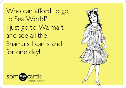 Who can afford to go to Sea World? I just go to Walmart and see all the Shamu's I can stand for one day!