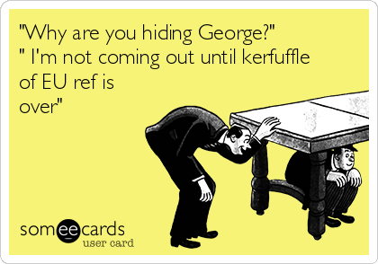 """""""Why are you hiding George?""""  """" I'm not coming out until kerfuffle of EU ref is over"""""""