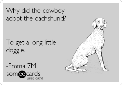 Why did the cowboy adopt the dachshund?   To get a long little doggie.   -Emma 7M