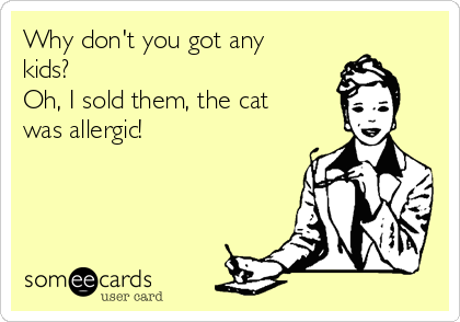Why don't you got any kids? Oh, I sold them, the cat was allergic!
