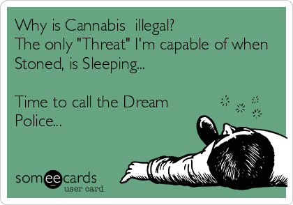 """Why is Cannabis  illegal? The only """"Threat"""" I'm capable of when Stoned, is Sleeping...  Time to call the Dream Police..."""