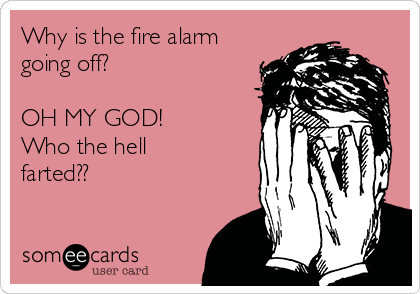 Why is the fire alarm going off?  OH MY GOD! Who the hell farted??